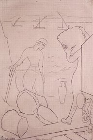 Simple pencil sketch on grid paper of men loading cargo at docks