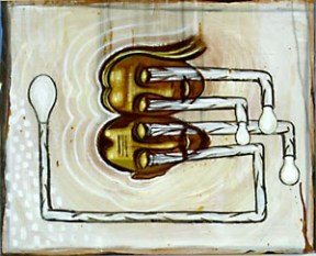 Mixed media artwork of two sideways heads with white pipes extending from their eyes