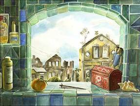 Painting of a green and blue tiled window overlooking quaint buildings