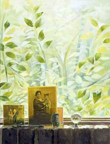 Painting of photographs on a table in front of a window filled with green leaves