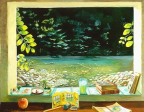 Painting of an open window overlooking a river and trees