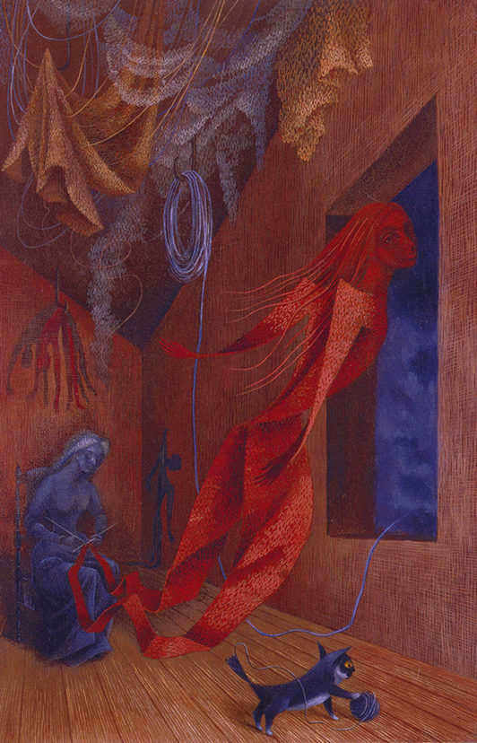 A painting of a blue seated woman knitting - a red female figure is rising from her needles