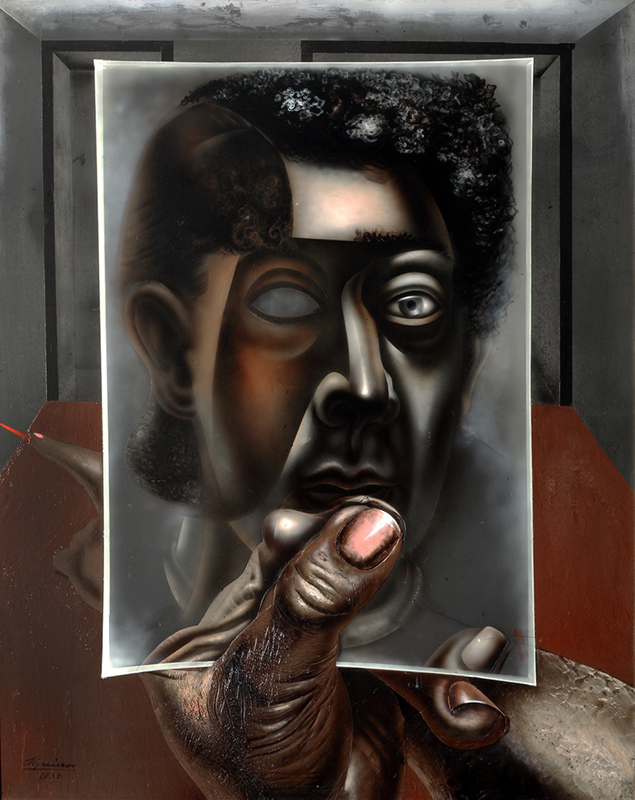 An experimental self-portrait of David Alfaro Siqueiros holding up a mirror and looking at his mask-like reflection.