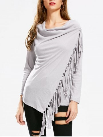 Asymmetric Long Sleeve Tassel Top