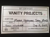 Certificado de regalo de Vanity Projects en NY