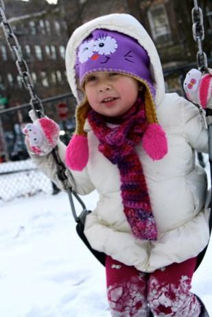 Disfrutando la nieve.