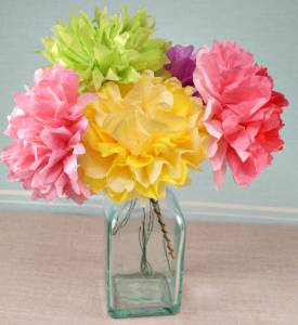 Colorful-tissue-paper-flowers-in-glasses-vase