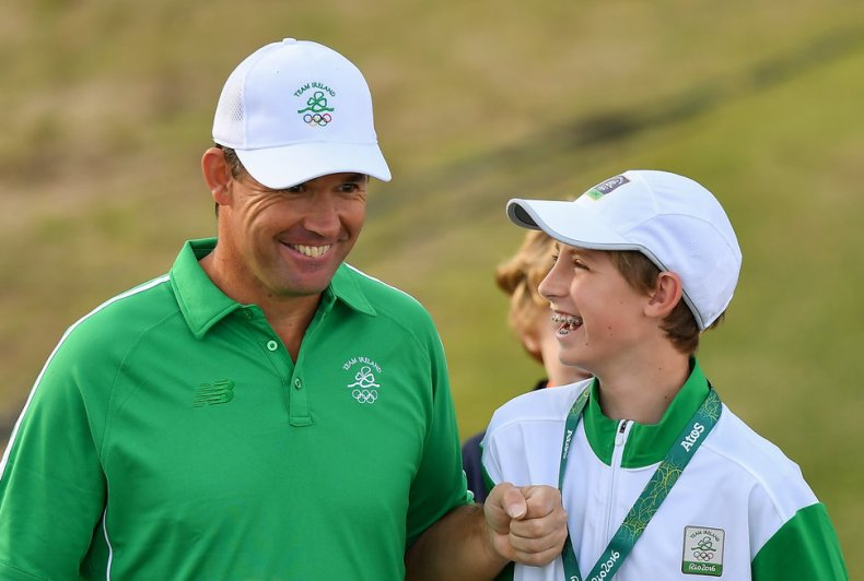 Rio , Brazil - 11 August 2016; Padraig Harrington of Ireland with his son Patrick before his Round 1 of the Men's Strokeplay competition at the Olympic Golf Course, Barra de Tijuca, during the 2016 Rio Summer Olympic Games in Rio de Janeiro, Brazil. (Photo By Brendan Moran/Sportsfile via Getty Images)