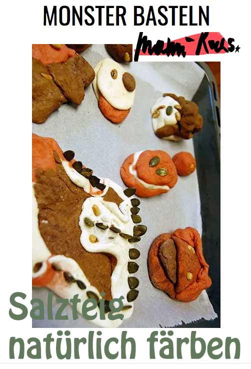 Halloween Monster basteln aus Salzteig