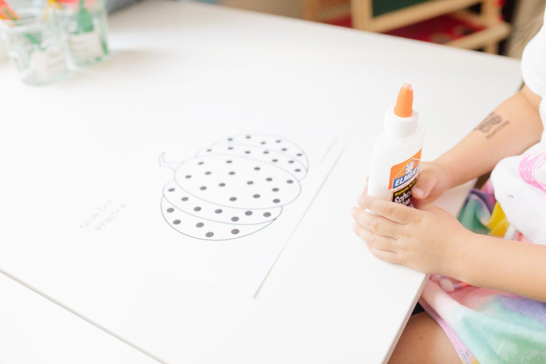 Free Glue Dot Practice Halloween Worksheet