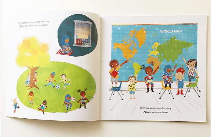 Pages from book All Are Welcome showing children from different countries.