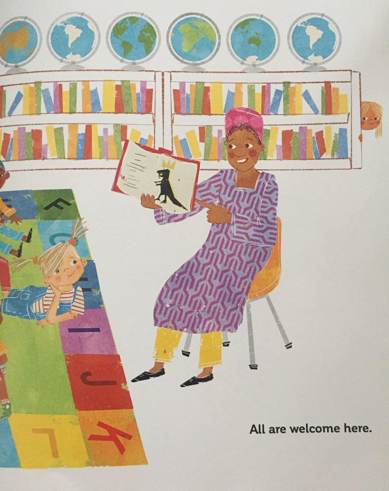 A page from All Are welcome featuring a diverse teacher reading Maya Angelou's book.