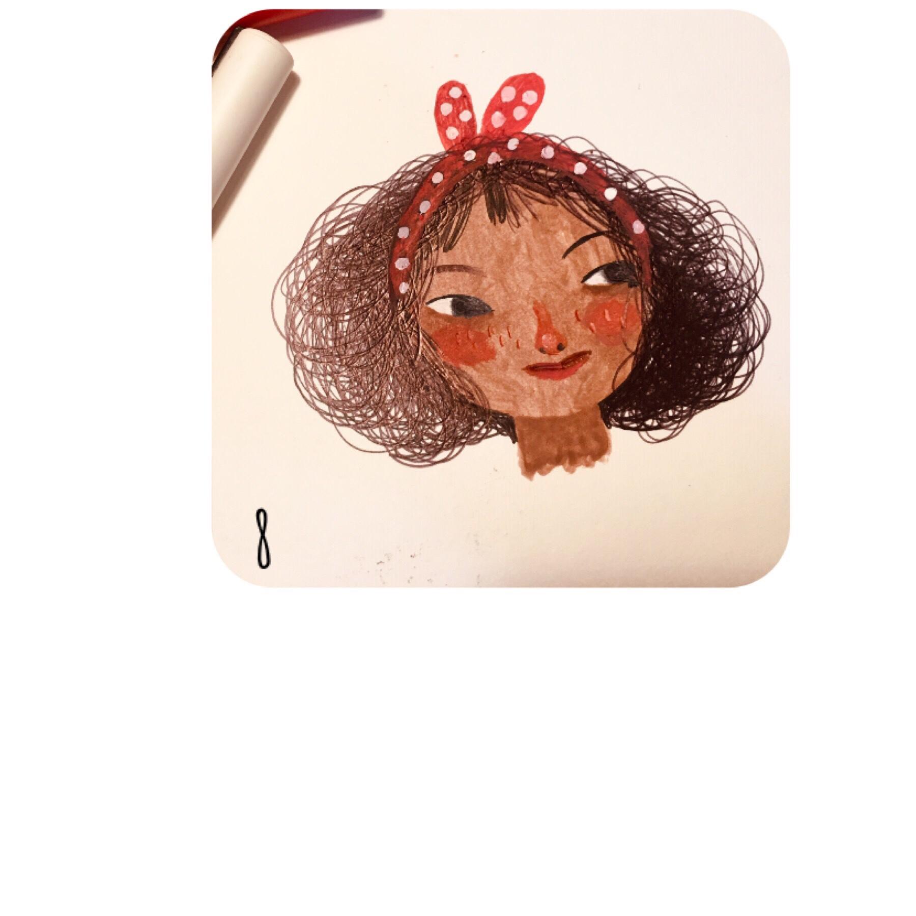 illustration tutorial of Mira's Curly Hair.