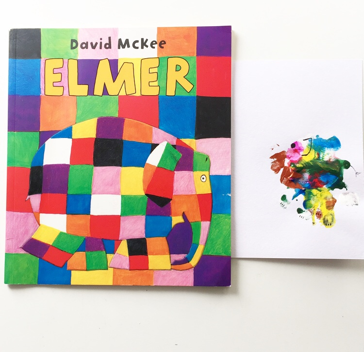 Elmer book cover with hand print craft mammafilz.com
