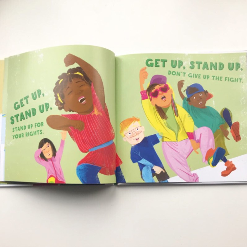 Inside picture book Get Up, Stand Up on mammafilz.com