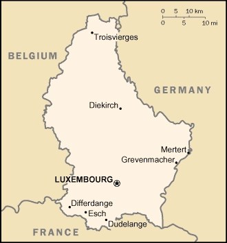 mappa del Lussemburgo