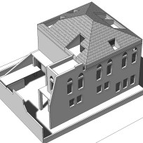 The whole house from outside as digital model and some early concept images of the screen.
