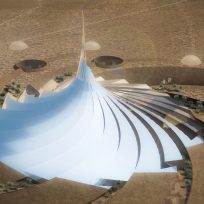 Eco Resort: Aerial View of the Eco-Hotel, Creating an Oasis in the desert
