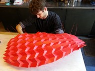 John Konings assembling the final lanterns using cable ties ©Mamou-Mani