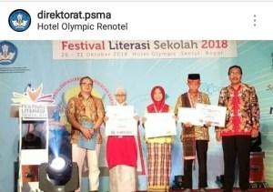 Sang Penakluk Kotelama,Shoffiya Lukman Juara Festival Literasi Sekolah TK Nasional 2018