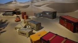探検用に作られた鞄や道具の数々。