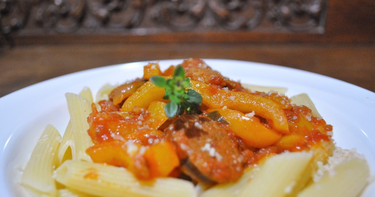 Penne with peppers and sausage