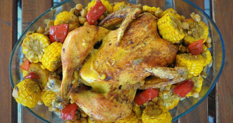Ψητό κοτόπουλο με καλαμπόκι και ρεβίθια