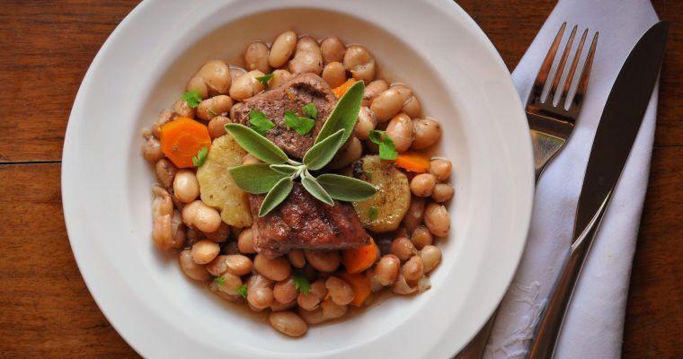 Grassfed beef  with borlotti beans