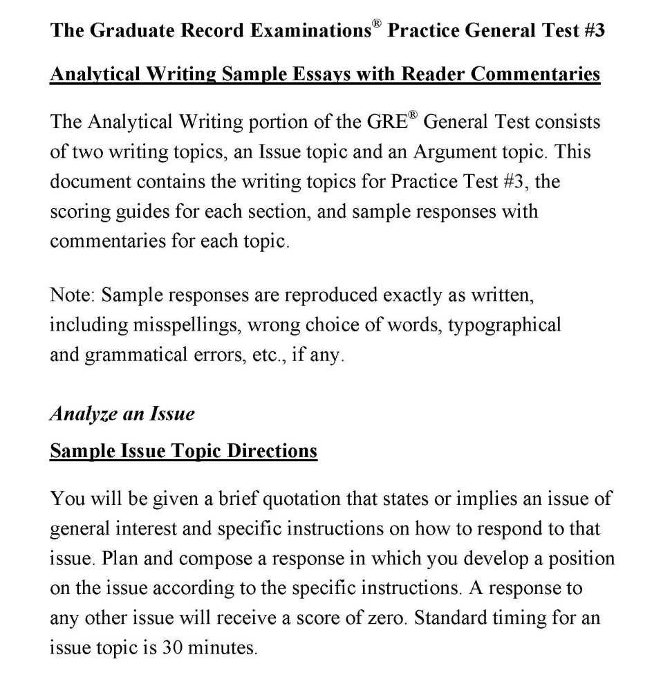Gre analytical writing answer examples