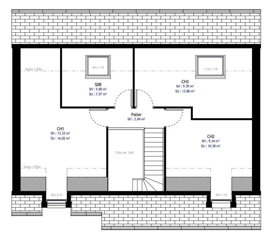 Plan Maison Individuelle 3 Chambres 12 Habitat Concept