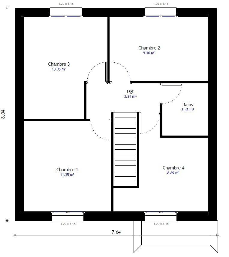 plan 2de la maison individuelle habitat concept 99b