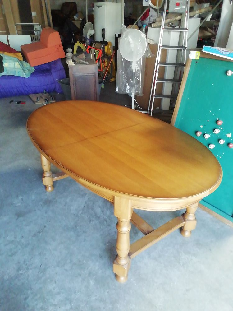 table ovale rustique 2 rallonges