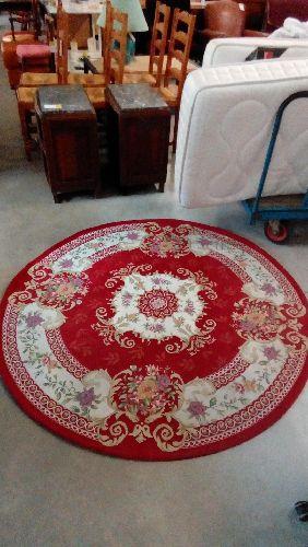 https troc fecamp fr antiquite brocante occasion tapis rond rouge ecru a fleurs 163cm 3242809