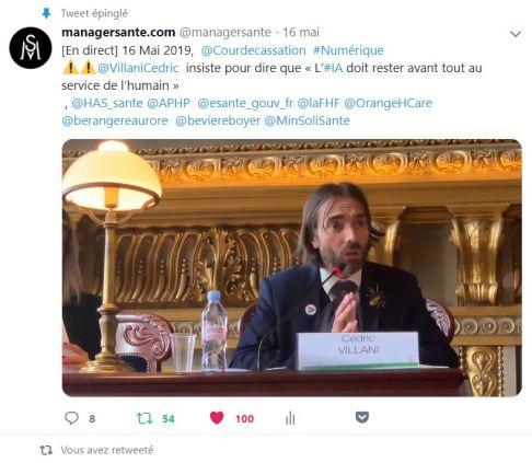 Intervention de Cédric VILLANI capture d'écran sur Twitter Cour de Cassation 15 Mai 2019