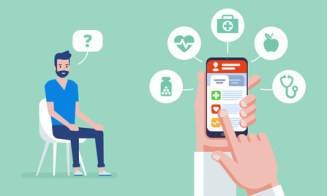 Online medicine. Doctor online concept with icons set. Doctor's appointment. The concept of online pharmacy. Vector flat  illustration.