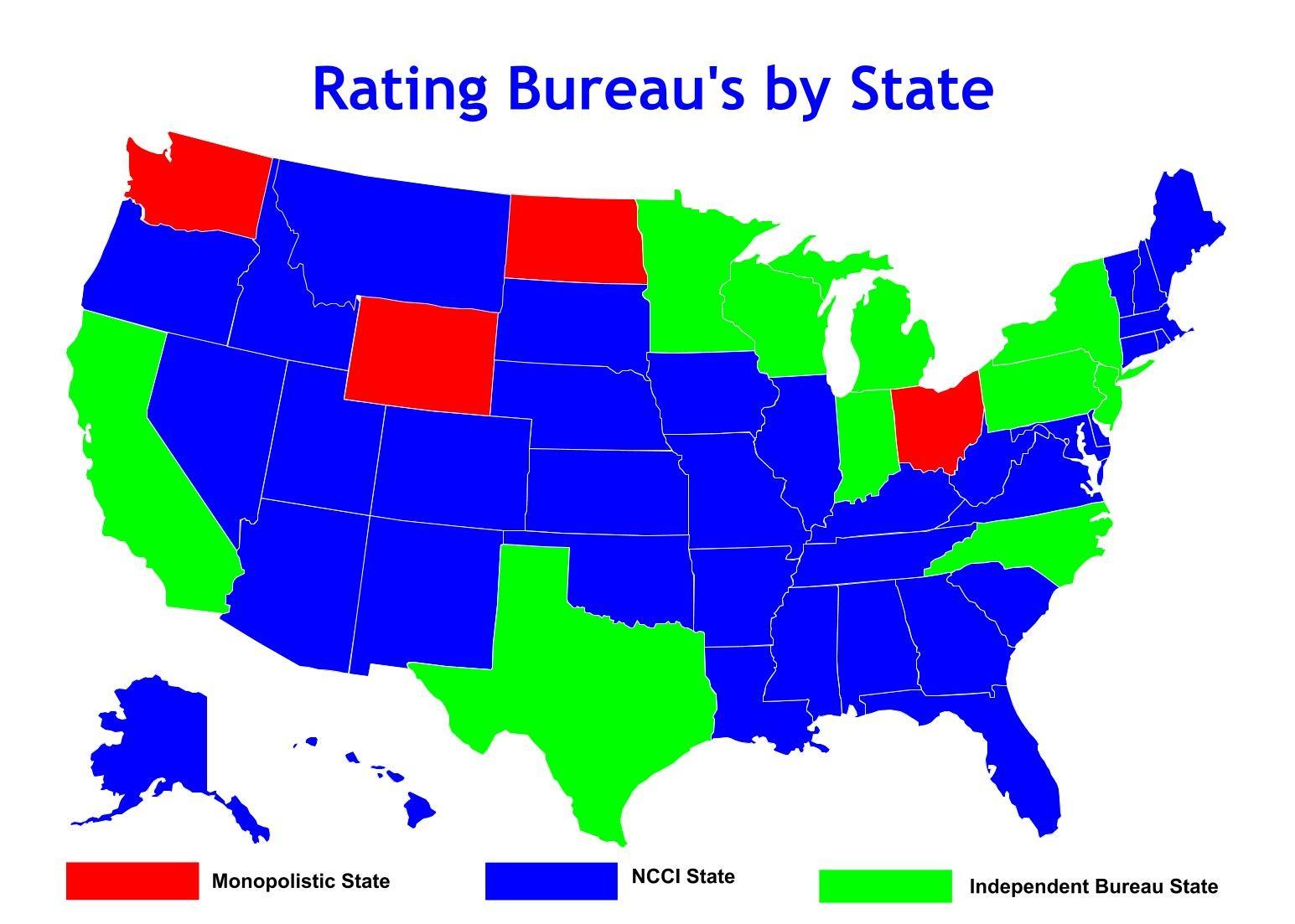 Ncci States Monopolistic States And Independent Bureau States