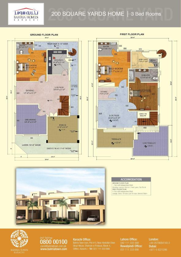 Bahria-Karachi-Homes-200yds-3bed-Floorplan