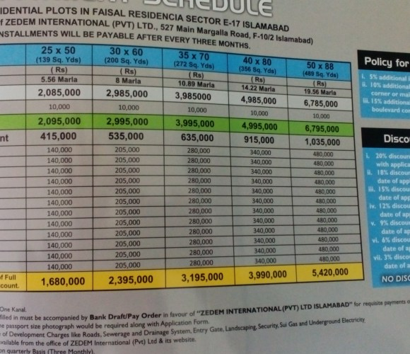 Faisal Residencia Plot Prices
