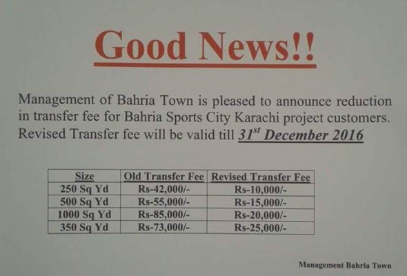 Bahria Sports City Karachi Revised Transfer Fee
