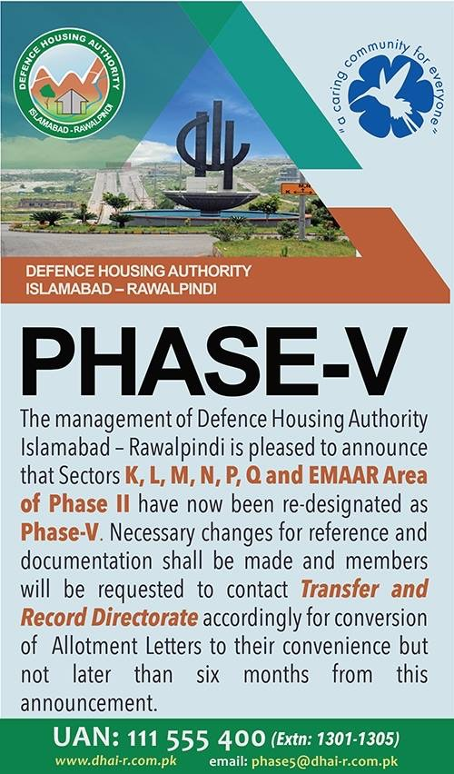 DHA Phase 2 Ex-Commoners Town Renamed to DHA Phase 5