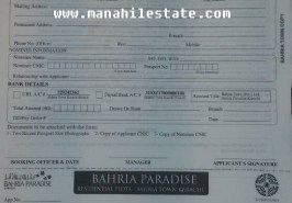 Bahria Paradise Karachi Booking Application Form