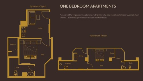 1 Bedroom Apartments Layout Plan 2 - Zarkon Heights Islamabad