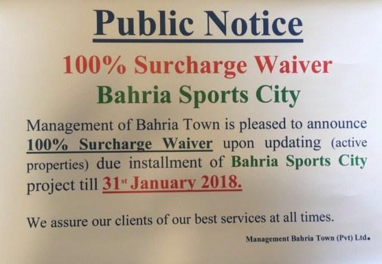 Bahria Sports City Karachi Notice