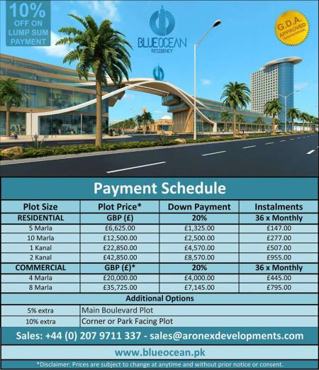 Blue Ocean Residency Gwadar Payment Plan