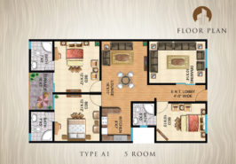 Type A1-5-Rooms-Apartment-Layout-Plan