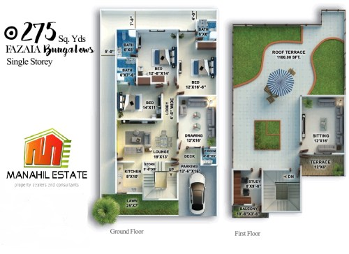 Fazaia Bungalows 275 SQY Single Storey Layout Plan