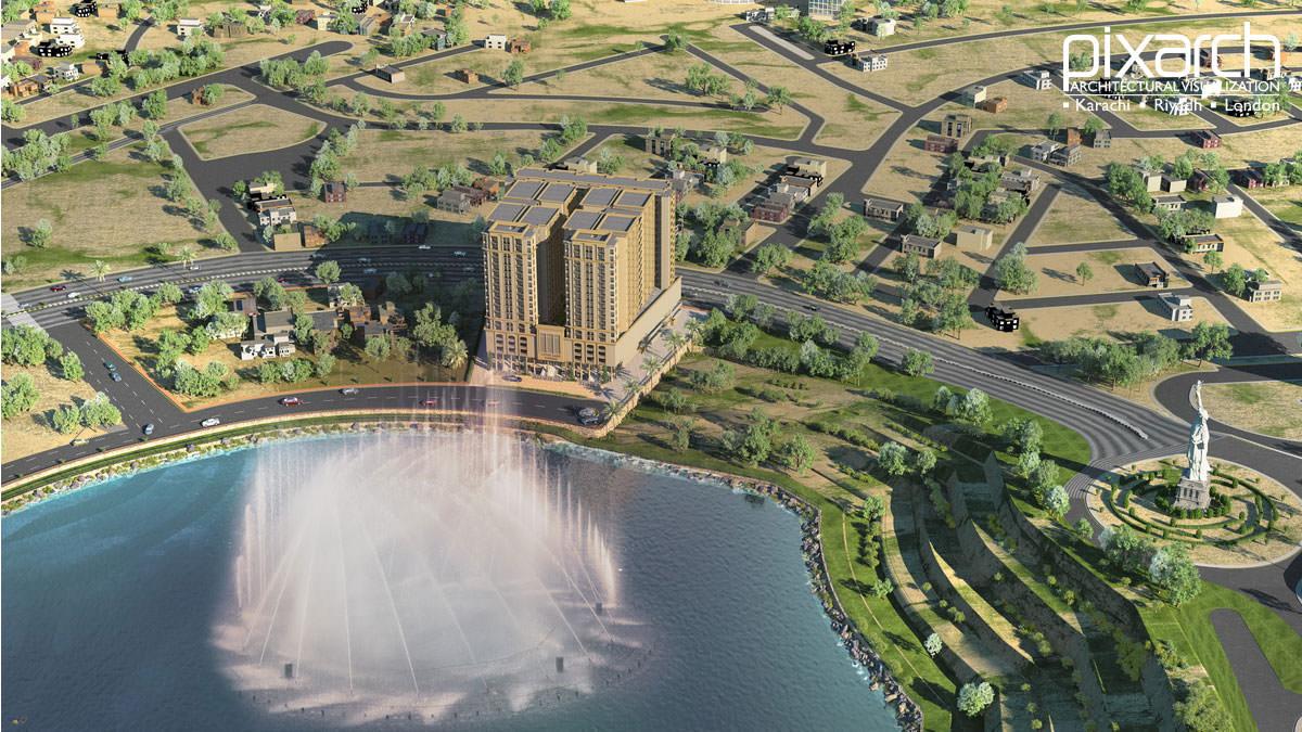 Lotus Lake Tower 3D View