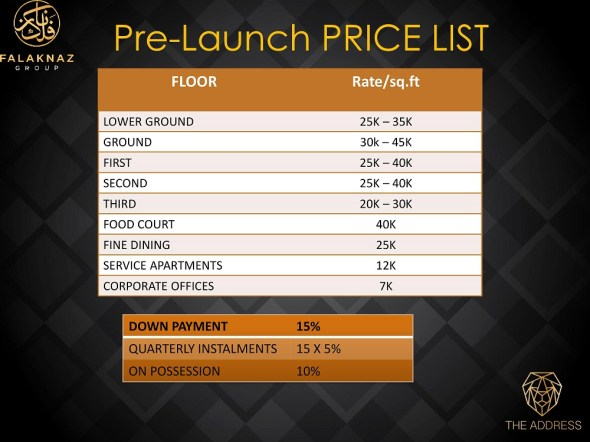 The Address Pre-launch Price List
