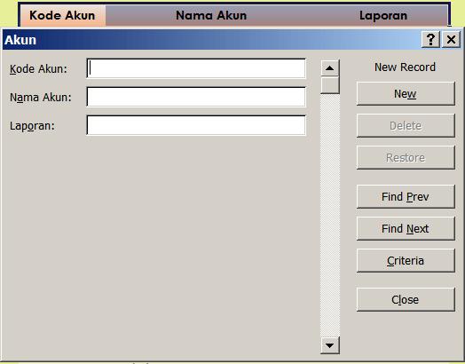 Form Input Kode Akun