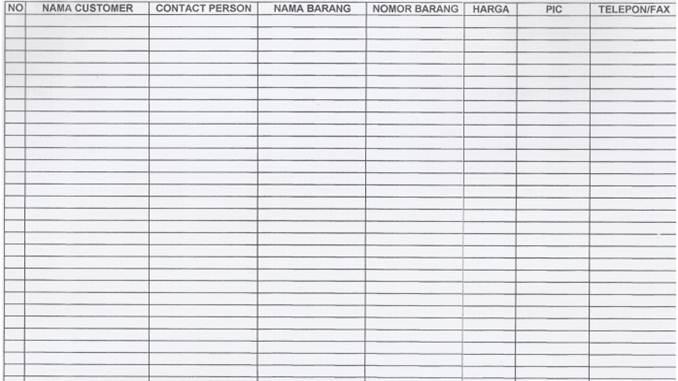 SOP Kepuasan Pelanggan - Form Daftar Pelanggan